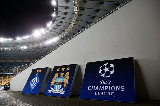 A general view prior to kickoff during the UEFA Champions League round of 16, first leg match between FC Dynamo Kyiv and Manchester City FC at the Olympic Stadium on February 24, 2016 in Kiev, Ukraine. (Photo by Michael Steele/Getty Images)