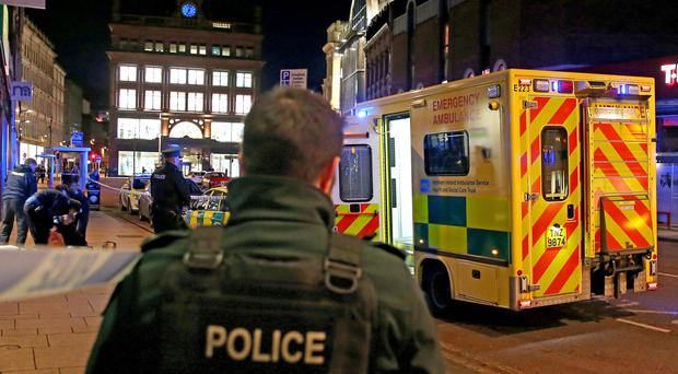Another homeless man has died in Belfast city centre as temperatures plummeted again towards zero. Police and an ambulance are attending the scene near Castle Junction. Pic Alan Lewis-PhotopressBelfast.co.uk