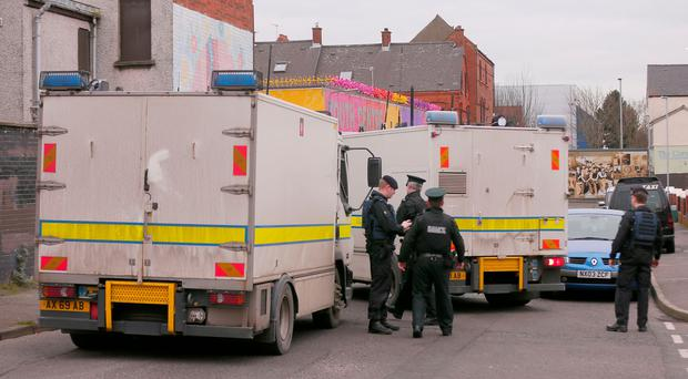 Police and ATO at the scene of a security Alert in the Fortfield Place area in Belfast on February 25, 2016 Belfast, Northern Ireland ( Photo by Kevin Scott / Belfast Telegraph )