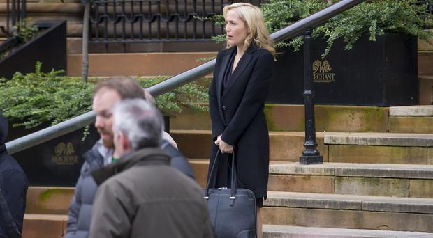GILLIAN ANDERSON filming The Fall at the merchant on February 25, 2016 Tandragee, Northern Ireland ( Photo by Kevin Scott / Belfast Telegraph )