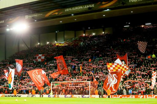 Liverpool fans show their support in the stands before the UEFA Europa League match at Anfield, Liverpool. PRESS ASSOCIATION Photo. Picture date: Thursday February 25, 2016. See PA story SOCCER Liverpool. PA Wire.