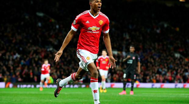 Marcus Rashford of Manchester United celebrates scoring his team's second goal during the UEFA Europa League Round of 32 second leg match between Manchester United and FC Midtjylland at Old Trafford on February 25, 2016 in Manchester, United Kingdom. (Photo by Alex Livesey/Getty Images)
