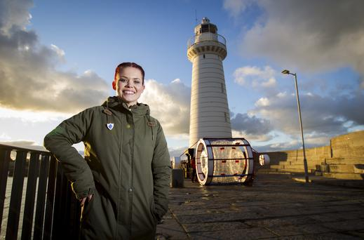 Blue Peter presenter Lindsey Russell preparing for her Sport Relief challenge were she will Zorb from Donaghadee Harbour in Northern Ireland, crossing the 21 mile stretch across the Irish Sea to Portpatrick in Scotland. Liam McBurney/PA Wire