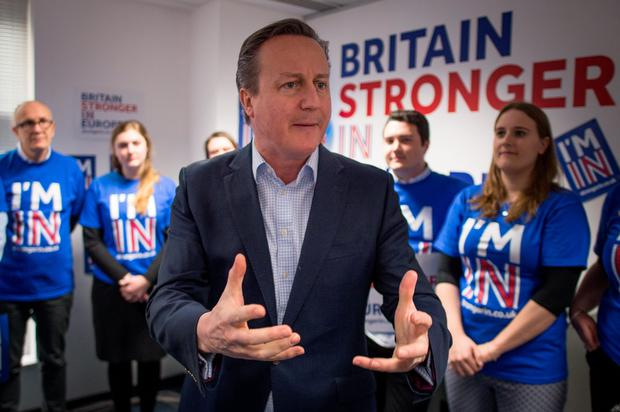 Prime Minister David Cameron addresses workers and activists at the Britain Stronger In Europe campaign headquarters in London, ahead a referendum on Britain's membership of the EU.