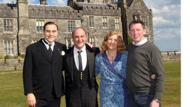 Noel Johnston (far right) pictured with David Walliams (left), Viscount Crichton and Amanda at Crom Castle