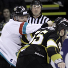 Big hitter: Giants captain Adam Keefe fights Cam Janssen