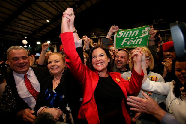 Sinn Fein's Mary Lou McDonald celebrates after being elected TD for Dublin Central at the election count centre at the RDS in Dublin, Ireland.
