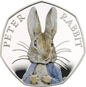 A special edition coloured version of a new commemorative 50 pence coin featuring the Peter Rabbit character from the books of British author Beatrix Potter to celebrate 150 years since the authors birth.
