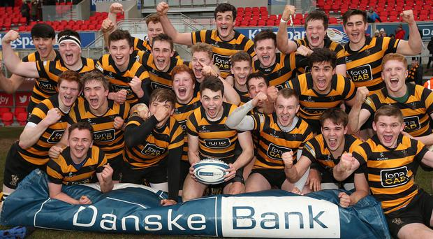 Victory roar: Inst celebrate their Schools' Cup semi-final triumph over Ballymena at the Kingspan Stadium