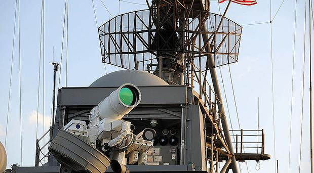 A laser weapon in place on the USS Ponce Office of Naval Research. Image: US Navy