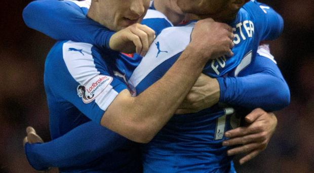 Main man: Harry Forrester (r) is hailed by Gers team-mates