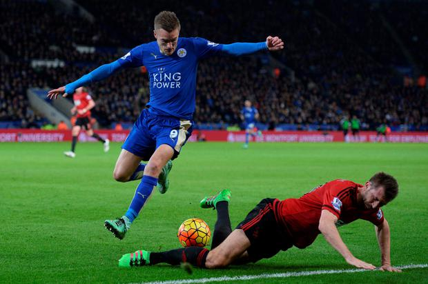 No go: Leicester striker Jamie Vardy couldn't find a way through against West Brom at the King Power Stadium last night, stopped on this occasion by Northern Ireland defender Gareth McAuley