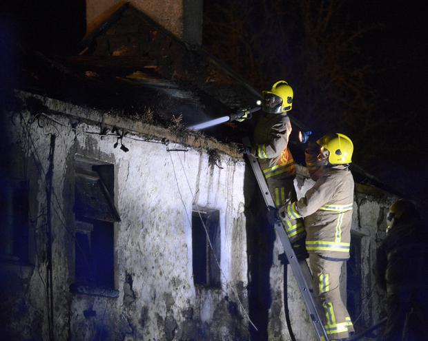Firefighters at the scene of the blaze on the Legananny Road, Loughbrickland