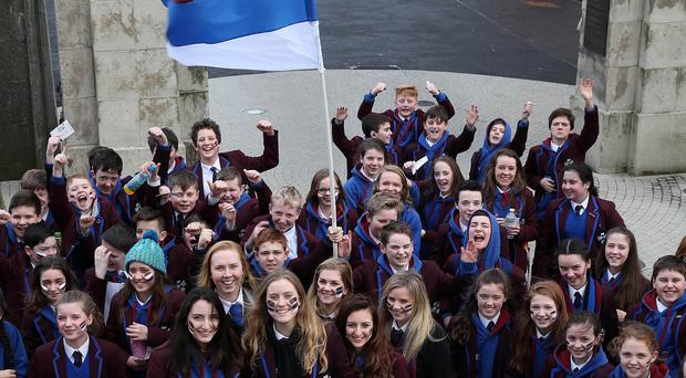 Dalriada School fans arrive ahead of their contect against Campbell College during Tuesday's Danske Bank Schools Cup semi final at Kingspan Stadium. Picture by Brian Little/Presseye