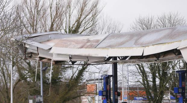 Craigavon , UK - March 02, Pictured is a Sainsburys Filling Station located at the Rushmere shopping centre thats roof has collapsed over night on March 02, 2016 Craigavon, Northern Ireland ( Photo by Kevin Scott / Belfast Telegraph)