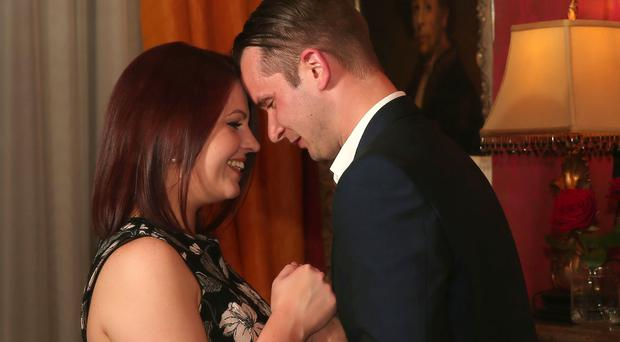 She had a great cover story too – using Chris' 30th Birthday later this week as the excuse for their luxury overnight stay at the 5-star Belfast hotel on Monday night. Picture by Kelvin Boyes / Press Eye.