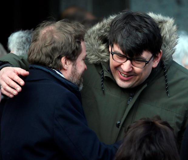Ardal O'Hanlon (left) and Graham Linehan at the funeral of late actor Frank Kelly, best known for his role as Father Jack in the hit comedy television series Father Ted, at the Church of the Guardian Angels, Blackrock, Dublin. Niall Carson /PA Wire