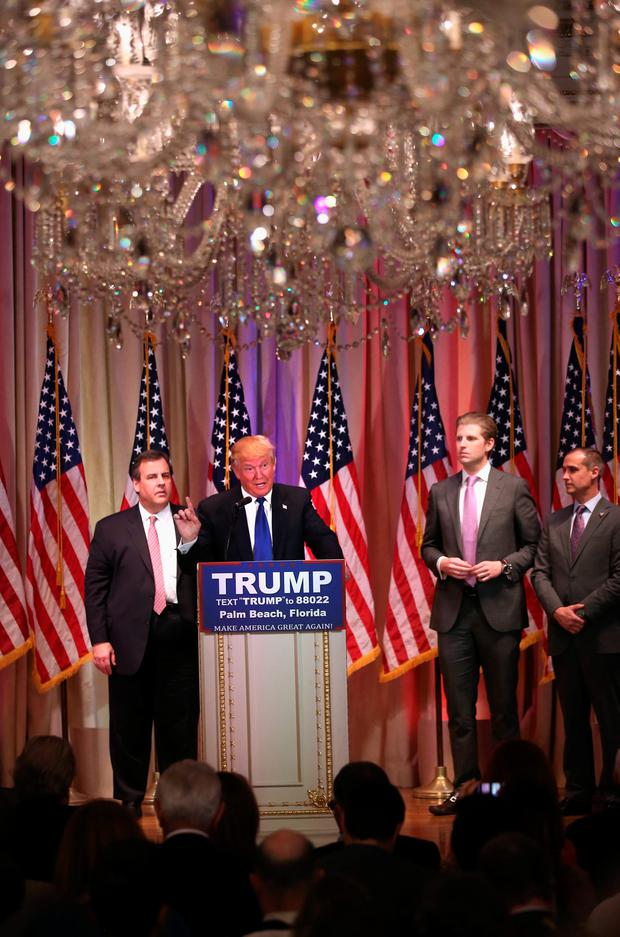 Republican Presidential frontrunner Donald Trump speaks to the media at his Mar-A-Lago Club on Super Tuesday, March 1, 2016 in Palm Beach, Florida. Trump held the press conference, flanked by New Jersey Governor Chris Christie, after the closing of polls in a dozen states nationwide. (Photo by John Moore/Getty Images)