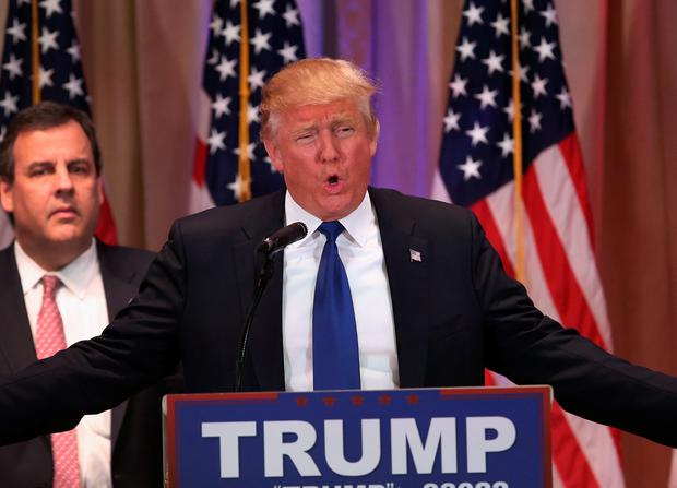 Republican Presidential frontrunner Donald Trump speaks to the media at his Mar-A-Lago Club on Super Tuesday, March 1, 2016 in Palm Beach, Florida. (Photo by John Moore/Getty Images)