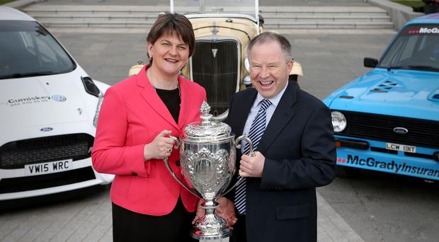 First Minister, Arlene Foster, is pictured at the launch of the 2016 Circuit of Ireland Rally with Event Director Bobby Willis. Celebrating its 85th year, the Circuit of Ireland Rally has grown to become a global event, attracting competitors and spectators from across the world. It takes place from April 7 to 9 in County Antrim, County Down and Belfast. Matt Mackey Presseye.