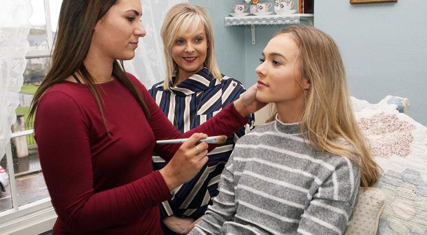 Flawless looks: Linda and Emily Rice at Manor House of Beauty in Saintfield with stylist Rachael McKibben