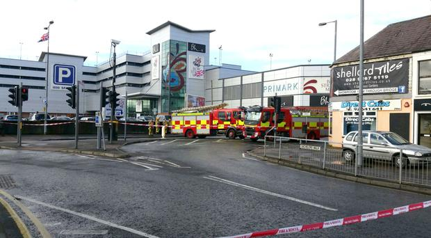 The fire service at Bow Street Mall in Lisburn this morning. Photo Graham Watt/Pacemaker Press