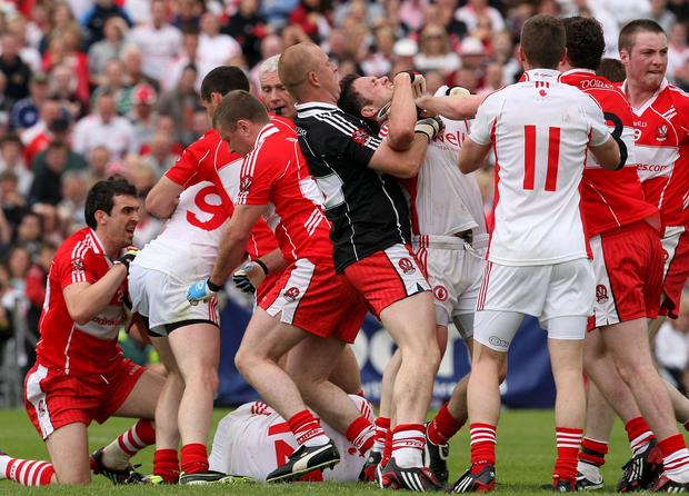 No quarter asked: Clashes between Derry and Tyrone have traditionally been a tad feisty down the year