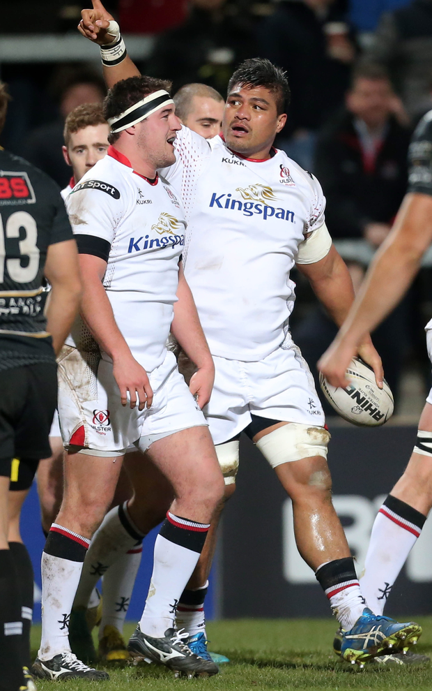 Pointing the way: Nick Williams hails the Kingspan crowd after scoring two tries in the 32-0 victory over Zebre