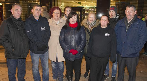 The family Roy Thompson who was the fourth person to die on Belfast's streets this winter attend event to say thank you of the volunteer groups that helped their brother and other members of the homeless community. Pictured L-R James Thompson (brother), Tommy Townsend from Help4Homeless, Sharon Scott (sister), , Carys Scott (niece), Angela Millett (sister), Ciara Thompson (niece) Samantha Biard from Help4Homeless, Sean Coleman (son) & Colin Thompson (brother) Copyright: Liam McBurney/RAZORPIX
