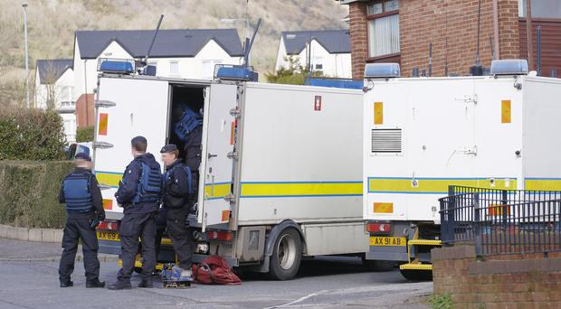 Police and ATO at the scene of a security alert in the Ramoan Drive area of west Belfast on March 05, 2016 Belfast, Northern Ireland ( Photo by Kevin Scott / Presseye)