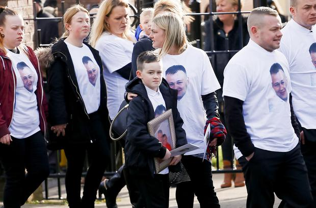 The funeral of murder victim Stephen Carson at Holy Trinity Church in west Belfast on March 05, 2016 Belfast, Northern Ireland ( Photo by Kevin Scott / Presseye)