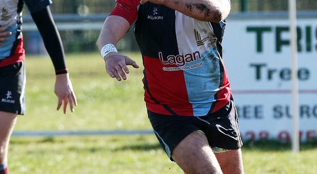 Too late: Belfast Harlequins' Mark Kettyle in action
