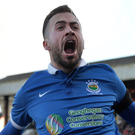 Glad all over: Ross Gaynor celebrates his double against Cliftonville in Linfield's 3-0 Irish Cup quarter-final triumph