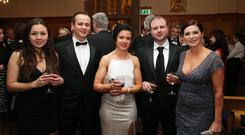 Claire McGuinness, Niall Marshall, Hilary Marshall (Chair Northern Ireland board, CIMA Ireland) Gareth Higgins and Seana McGlinchey pictured at the Chartered Institute of Management Accountants Ireland Northern Area annual dinner at The Great Hall, Queen's University Belfast. Picture by Kelvin Boyes / Press Eye.