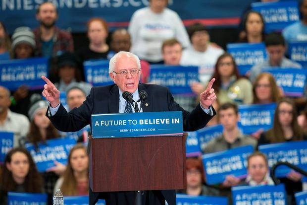 Democratic presidential candidate Senator Bernie Sanders (D-VT) speaks to guests during a rally at Macomb Community College on March 5, 2016 in Warren, Michigan. (Photo by Scott Olson/Getty Images)