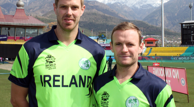 Old pals: I take in the scenery with Ireland captain William Porterfield during training ahead of our first World Cup game in India
