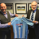 In charge: David Jeffrey is welcomed as new Ballymena United manager by chairman John Taggart