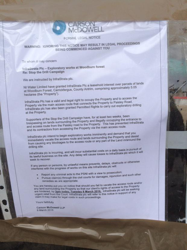 The notice placed around the test drilling site.
