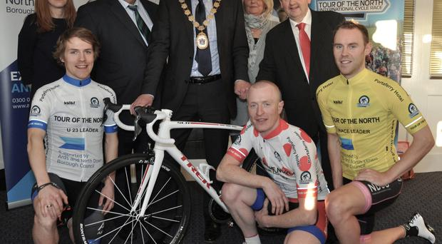 On yer bike: at Tour of the North launch are (back from left) Sharon Mahaffy, Manager Ards and North Down Tourism, Maurice McAllister, Chairman Cycling Ulster, Alan Graham, Mayor of Ards and North Down, Joan McCullough, Race Director, Cathal Arthurs, proprietor Portaferry Hotel, (front from left) Chris McGlinchey, Glenn Kinning and David Watson