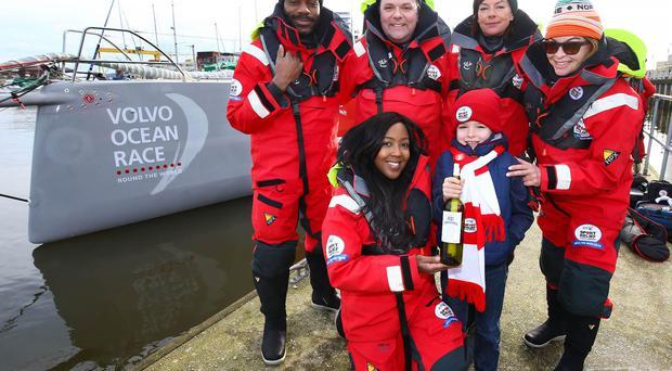 Cadhan Crawford (7) from Ballycastle presents the BT Message In A Bottle to Angellica Bell, Hal Cruttenden, Doon Mackichan, Ore Oduba and Suzi Perry ahead of their BT Sport Relief Challenge: Hell on High Seas. The One Show presenter Alex Jones was joined by her fellow celebrities in a mammoth challenge which will see them battle fearsome winds freezing temperatures and rough seas in a feat of pure physical mental and emotional endurance. The challenge is sponsored by BT a long-term supporter of Sport Relief challenges since 2009. Setting off from Belfast Harbour Marina on Monday, March 7 the crew will attempt to sail to London in just five days. Press Eye.
