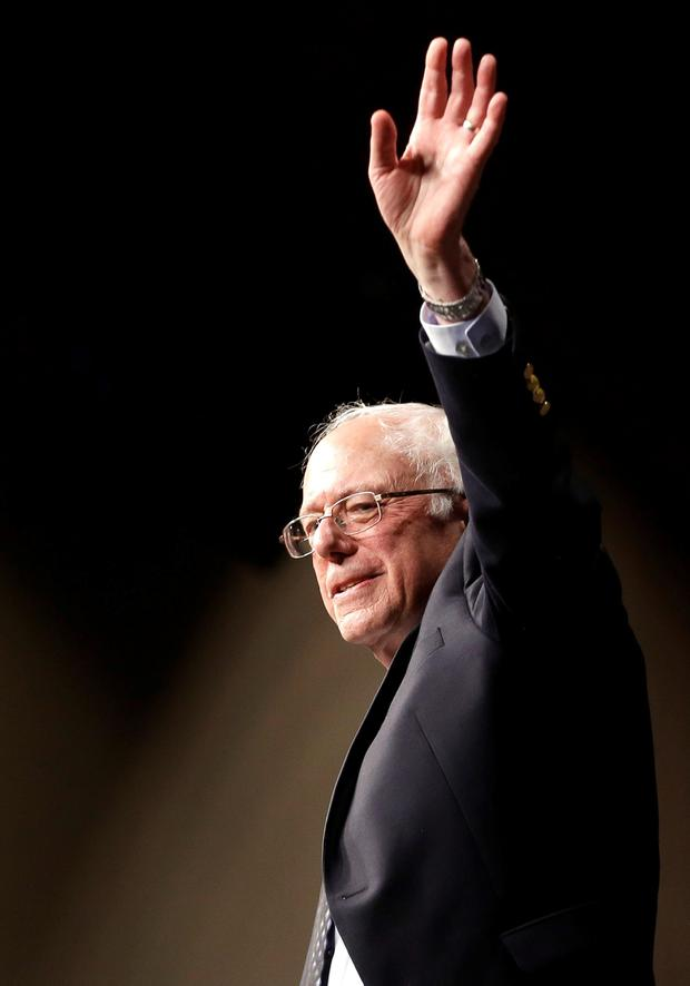 Democratic presidential candidate, Sen. Bernie Sanders, I-Vt., waves to his supporters after speaking at a campaign rally, Tuesday, March 8, 2016, in Miami. (AP Photo/Alan Diaz)