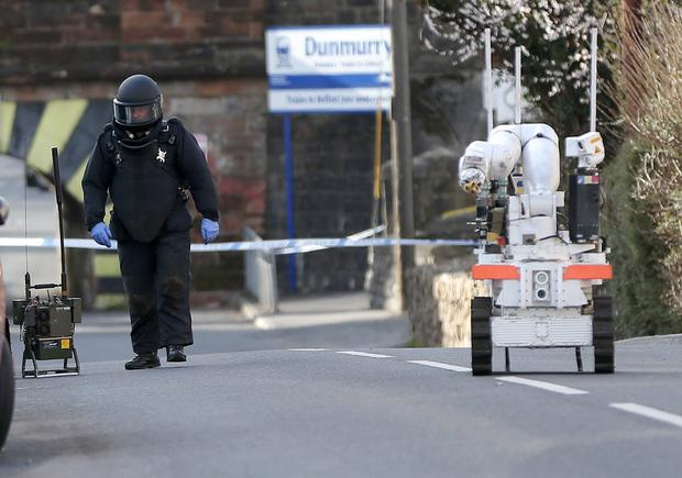 Security alert in the Upper Dunmurry Lane area of west Belfast following the discovery of a suspicious object. Picture by Press Eye