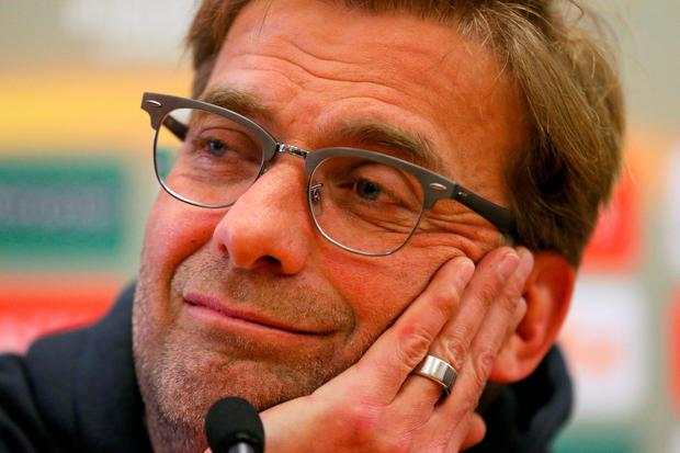 Jurgen Klopp, Manager of Liverpool looks on during a press conference ahead of the UEFA Europa League round of 16 first leg match between Liverpool and Manchester United at Melwood Training Ground on March 9, 2016 in Liverpool, United Kingdom. (Photo by Dave Thompson/Getty Images)