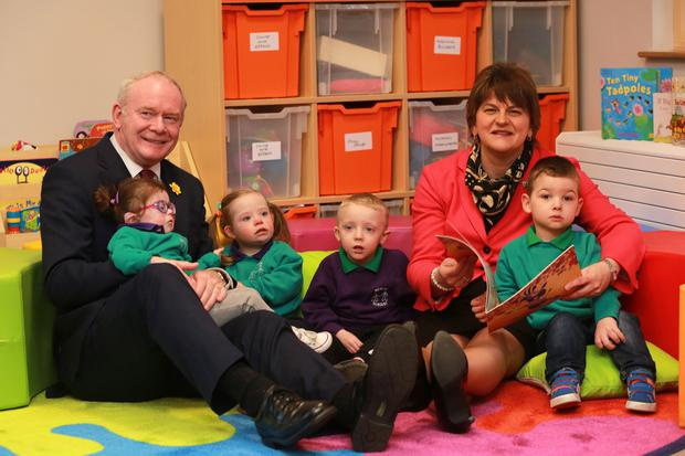 First Minister Arlene Foster and deputy First Minister Martin McGuinness, along with Simon Hamilton, Minister for Health, Social Services and Public Safety, officially opened the new £4.6million Mencap Centre in Belfast. Picture by Phil Smyth
