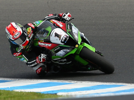 Powering ahead: Jonathan Rea scored a double victory as he opened the defence of his World Superbike crown in Australia