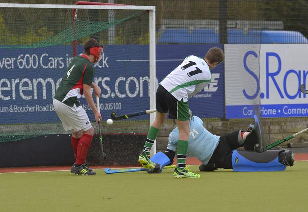 Pick it out: Sullivan Upper's Fergus Gibson slams in the winner in the Burney Cup semi-final against Friends