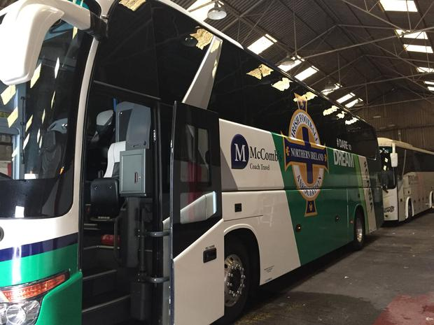 Official Northern Ireland Football Team Coach. Picture: McComb's Travel.
