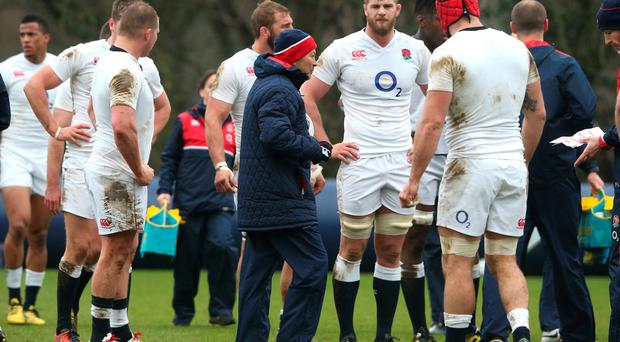 Eddie Jones dishes out the instructions at England training in Bagshot, Surrey