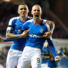 Kenny Miller celebrates after scoring his and Rangers' second goal against Morton last night