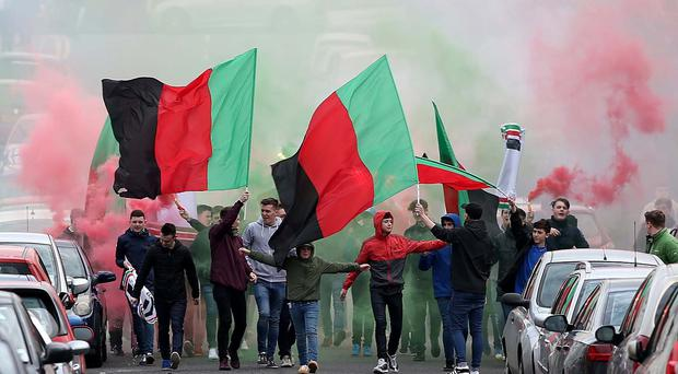 Glentoran fans arrive for 'the Big Two' Danske Bank Premiership match against Linfield under tighten security at Windsor Park. Picture by Presseye